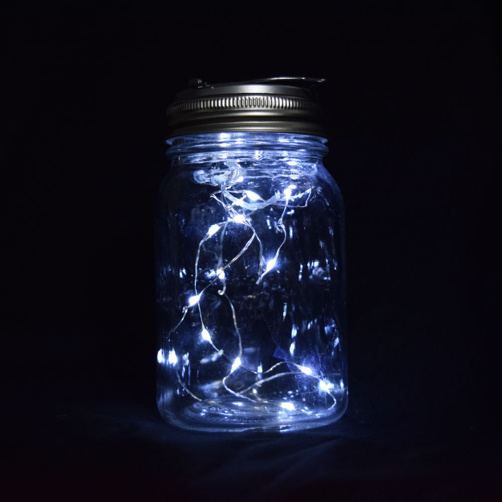 Fantado Wide Mouth Clear Mason Jar Lights Cool White Fairy