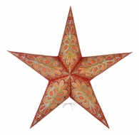 """24"""" Flocking Red and Gold Glitter Paper Star Lantern, Hanging (Light Not Included)"""