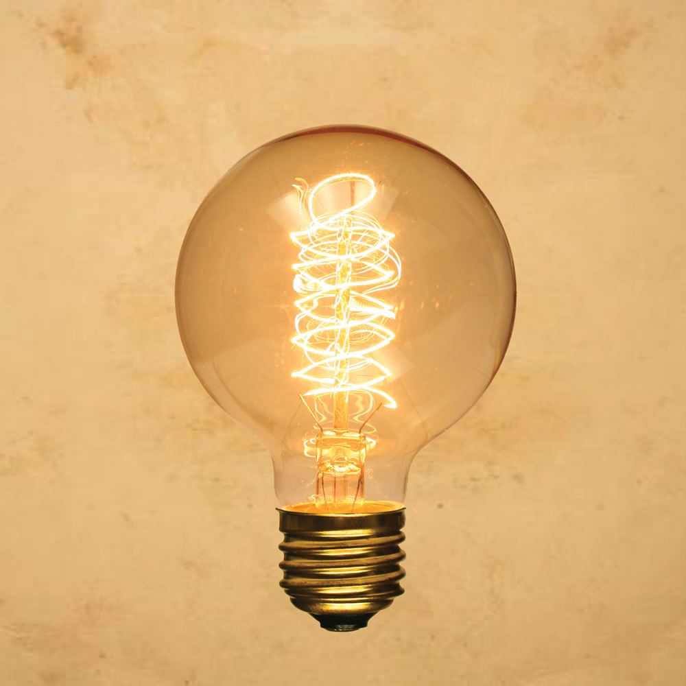 G80 Edison-Style Light Bulb Globe Spiral, Vintage Antique ...