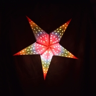 "24"" Glossy White Star w/ Inner Rainbow Cut-Out Paper Star Lantern, Hanging Light"