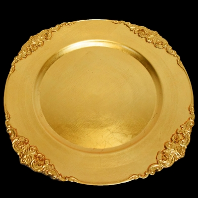 Gold Heavy Duty Charger Plate With Medieval Trim 13 Inch