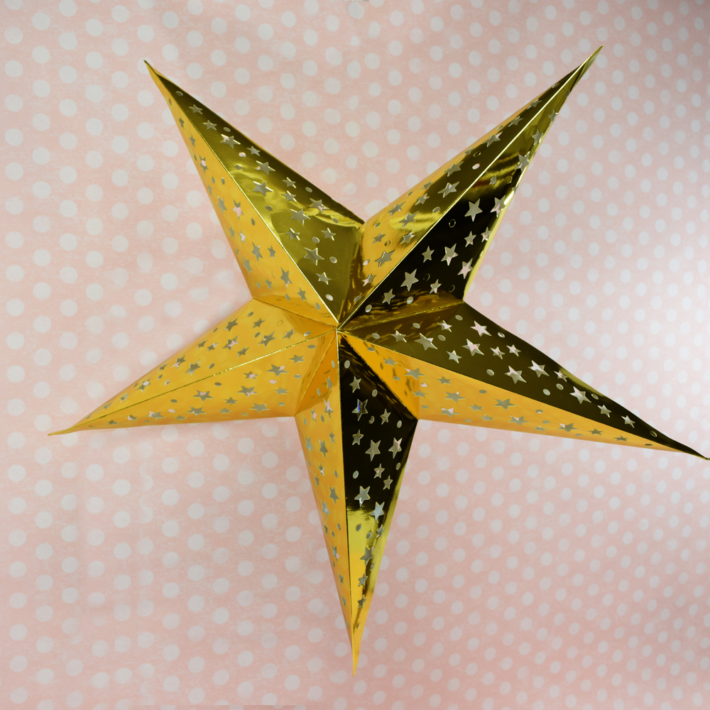 Gold Foil Cut Out Paper Star Lantern Hanging Light Not Included On Sale Now Paper Star