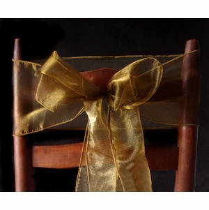 Gold Organza Chair Sashes Bows Table Runners 6 5in X