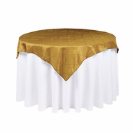 Gold Square Pintuck Chameleon Table Cloth Overlay Cover - 72 x 72 Inch