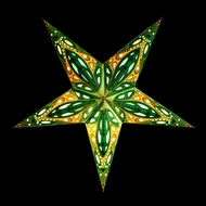 """24"""" Green Dahlia Paper Star Lantern, Hanging (Light Not Included)"""