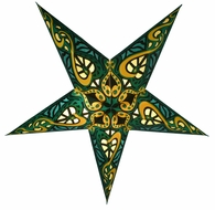 "24"" Green Trance Paper Star Lantern, Hanging Light"