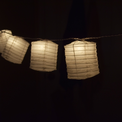 White Hako Box Shaped Paper Lantern String String Lights