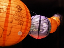 Halloween Assorted Paper Lantern String Light Party Decoration COMBO Kit (22.5FT, EXPANDABLE, Black Cord)