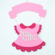 It's a Girl Pink Baby Shower Nursery Hanging Felt Sign Decoration, 17.5 x 13""