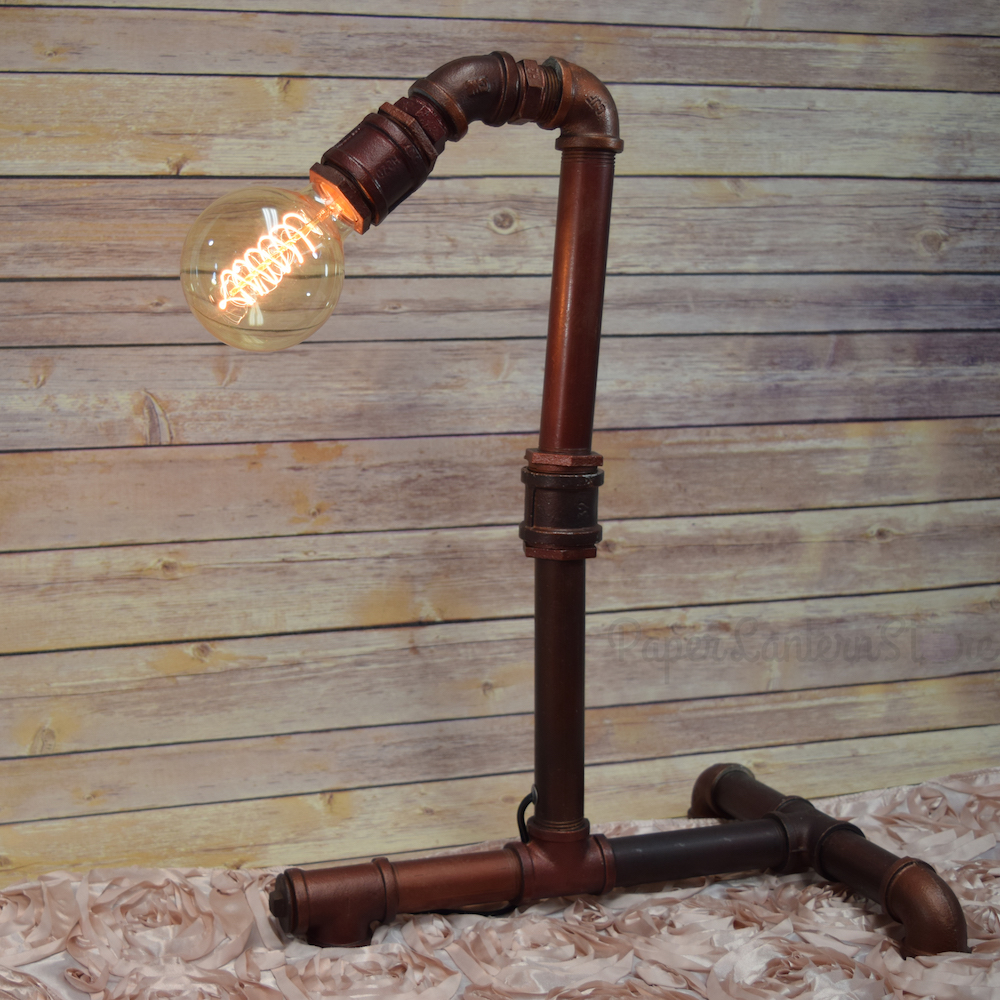 Large Industrial Galvanized Pipe Light Fixture Desk Table