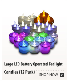 Large LED Battery Operated Tealight Candles (12 Pack)