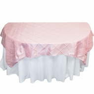 Light Pink Square Pintuck Chameleon Table Cloth Overlay Cover - 72 x 72 Inch