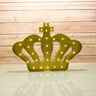 Marquee Light Gold Crown Shape LED Metal Sign w/ Glitter (Battery Operated)