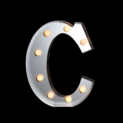 Marquee Light Letter C Led Metal Sign 10 Inch Battery