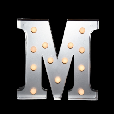 Marquee Light Letter M Led Metal Sign 10 Inch Battery