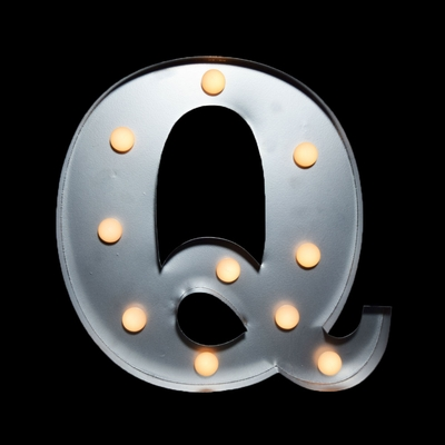 Marquee Light Letter Q Led Metal Sign 10 Inch Battery