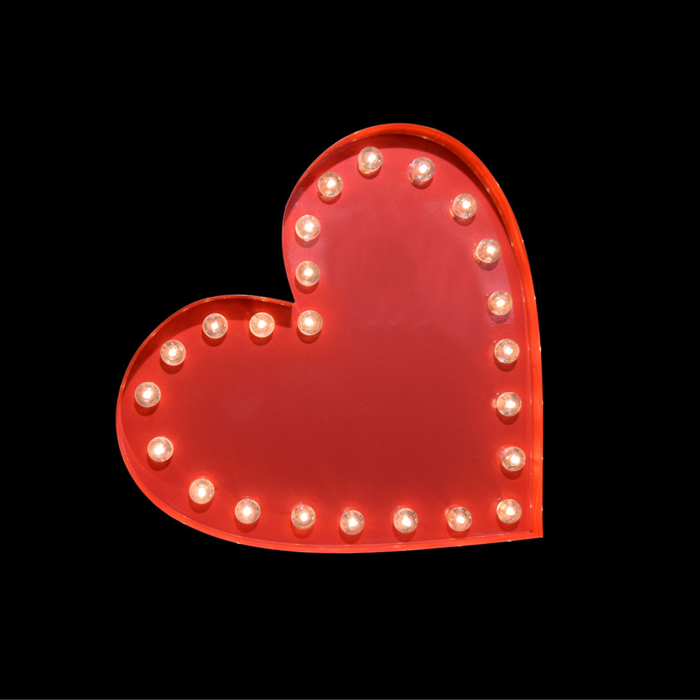 Marquee Light Red Heart Shape Led Metal Sign Battery