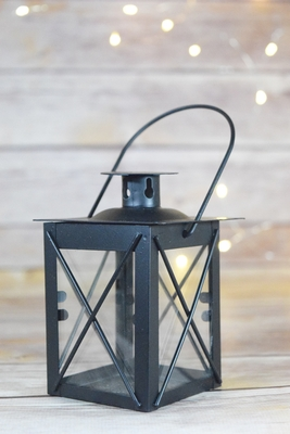 4 5 Quot Black Square Hurricane Candle Lantern Tea Light