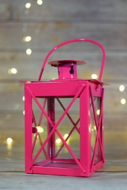 "4.5"" Fuchsia Square Hurricane Candle Lantern Tea Light Holder"