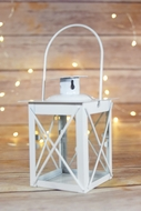 "4.5"" White Square Hurricane Candle Lantern Tea Light Holder"