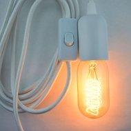 Modern Metal White Pendant Light Lamp Cord w/ Braided Cloth Cord, Switch, 11 FT
