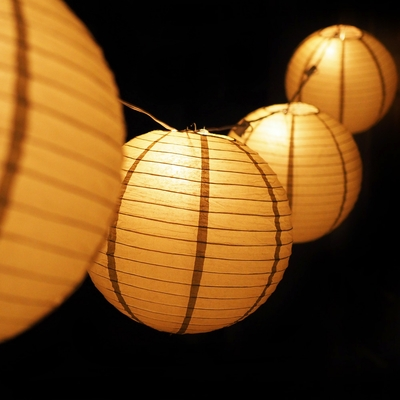 Moonbright 12 Quot Gold Paper Lantern Outdoor String Light Set
