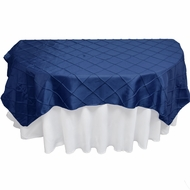 Navy Blue Square Pintuck Chameleon Table Cloth Overlay Cover - 72 x 72 Inch