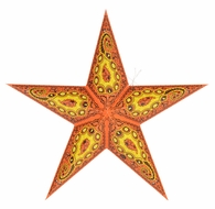"""24"""" Orange Paisley Paper Star Lantern, Hanging (Light Not Included) (Discontinued)"""