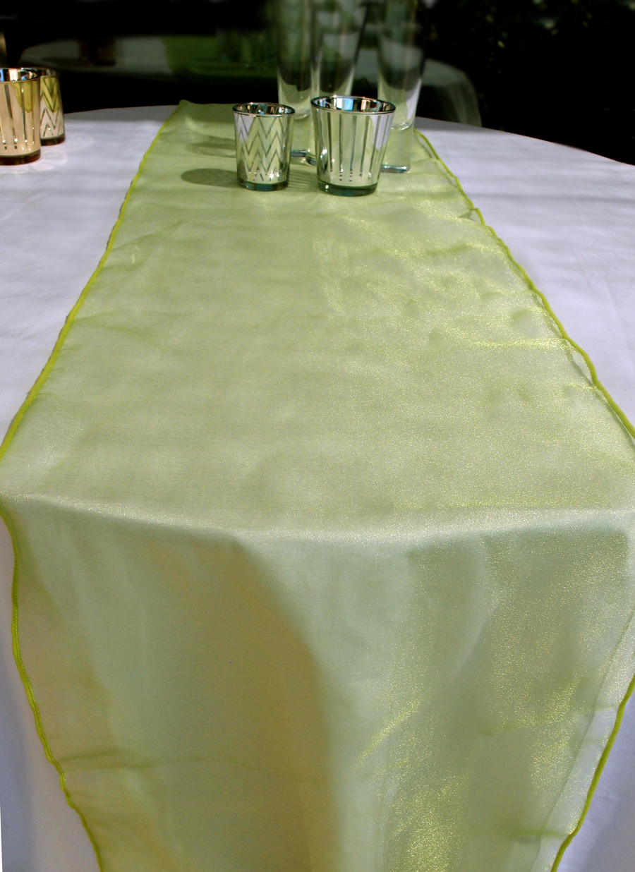 Organza Table Runner Light Lime
