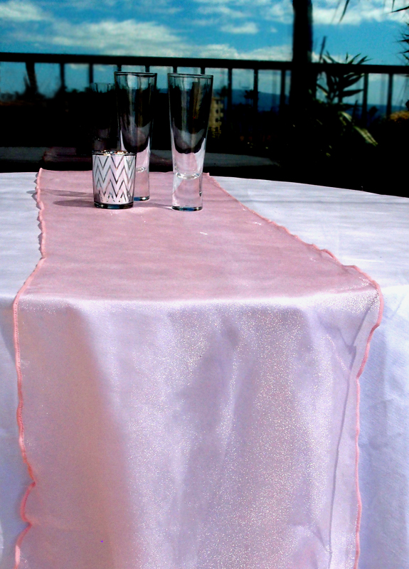 Organza Table Runner Pink