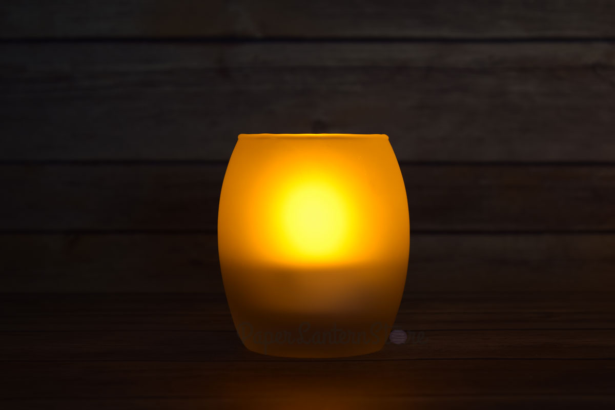 Oval Tea Light Flameless Led Candle In Frosted Glass