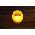 Oval Tea Light Flameless LED Candle in Frosted Glass Votive w/ Blow/Shake Function (Warm White)