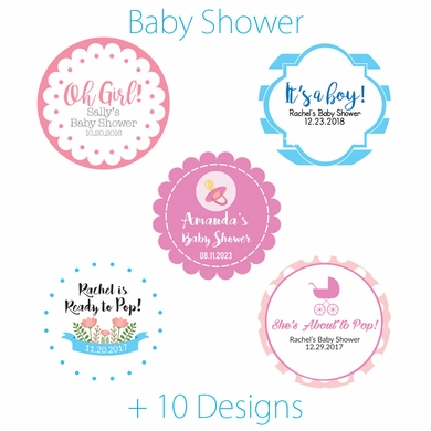 personalized baby shower mini favor circle labels stickers on sale now