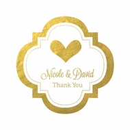 "Personalized Metallic Foil 1.5"" Mini Favor Labels Stickers - Wedding"
