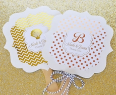 Personalized Metallic Foil Paddle Hand Fans - Wedding