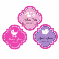 "Personalized MOD Baby Silhouette 1.5"" Mini Favor Labels Stickers"