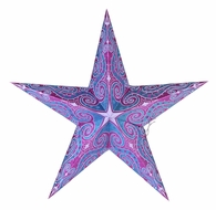 """24"""" Pink and Turquoise Glitter Mouri Paper Star Lantern, Hanging (Light Not Included)"""