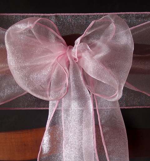 Pink Organza Chair Sashes 9ft 10 Pack