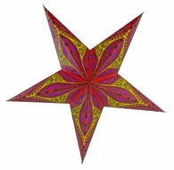 """24"""" Red Exotic Dahlia Paper Star Lantern, Hanging (Light Not Included)"""