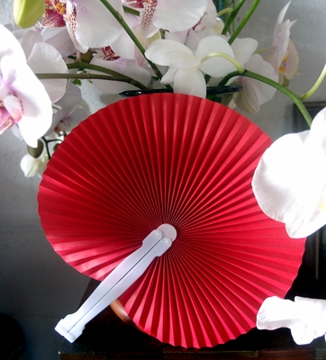 9 Quot Red Chinese Folding Accordion Paper Hand Fan For