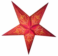 """24"""" Red on Yellow Mehandi Paper Star Lantern, Hanging (Light Not Included)"""