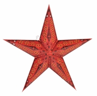"""24"""" Red Petal Paper Star Lantern, Hanging (Light Not Included)"""