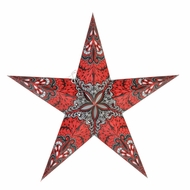 """BLOWOUT 24"""" Red Grey Rain Paper Star Lantern, Hanging (Light Not Included)"""
