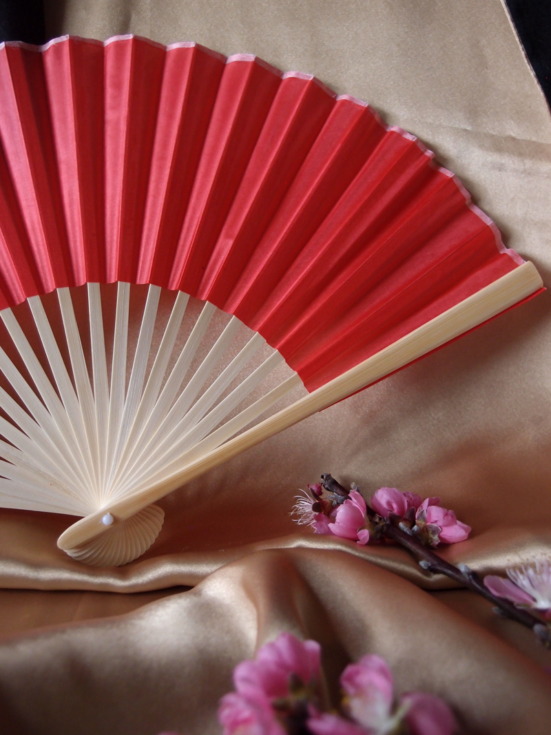 9 Quot Red Chinese Folding Silk Hand Fan For Weddings On Sale