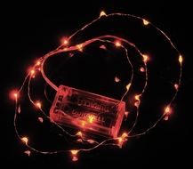 20 Red LED Micro Fairy String Lights, Wire (6ft, Battery Operated)