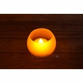 Round Tea Light Flameless LED Candle in Frosted Glass Votive w/ Blow/Shake Function (Warm White)