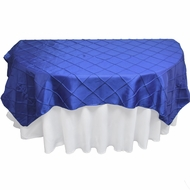 Royal Blue Square Pintuck Chameleon Table Cloth Overlay Cover - 72 x 72 Inch