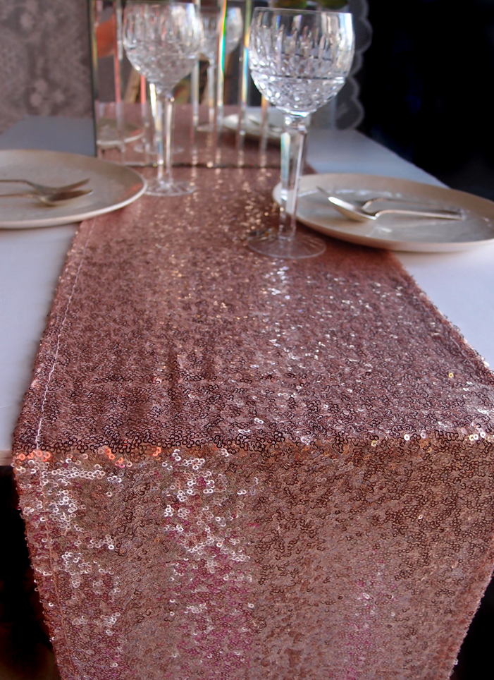 Sequin Table Runner Copper 12 X 108
