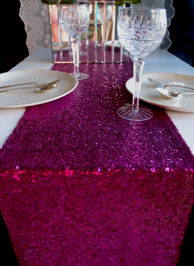 Sequin Table Runner Fuchsia Hot Pink 12 X 108