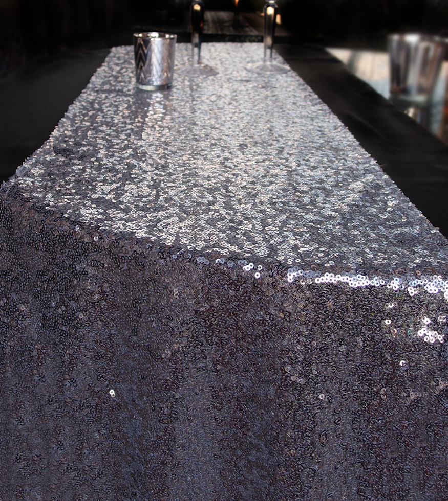 Sequin Table Runner Solid Silver